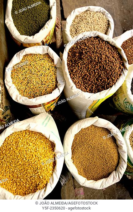Beans and seeds selling at Udaipur street market
