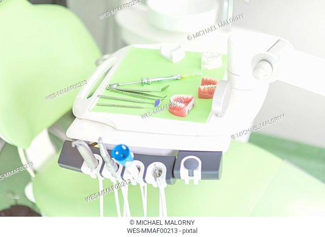 Tooth model and dental instruments in dental surgery