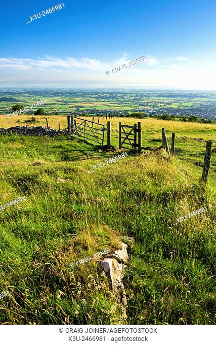 View over the Somerset Levels from the top of Cheddar Gorge in the Mendip Hills, near Cheddar, England