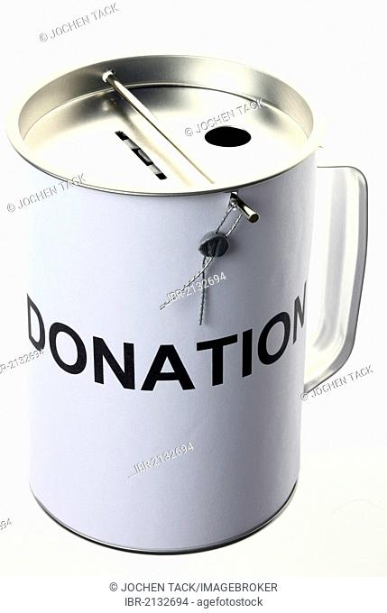 Donation box, labeled donation