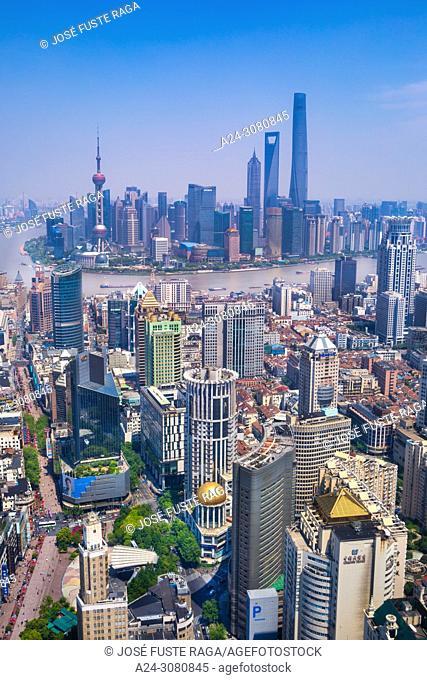 China, Shanghai City, Nanjin Lu,Pudong District, Lujiazui Area, Jin Mao Bldg. ,World Financial Center and Shanghai Tower