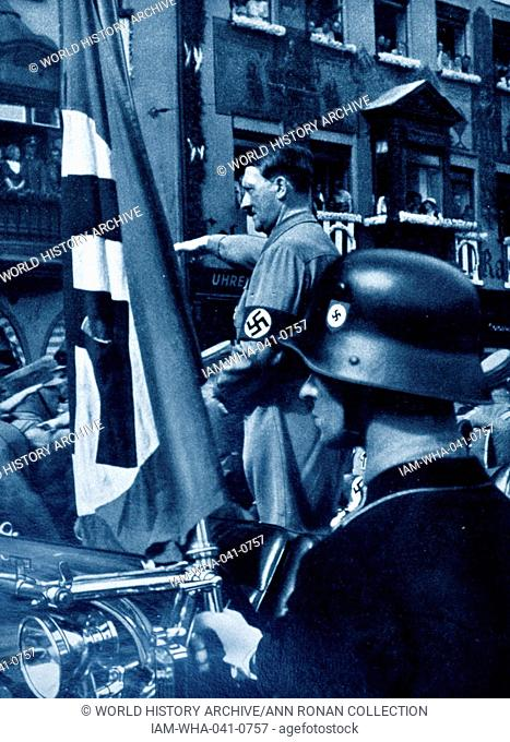 Adolf Hitler 1889-1945. German politician and the leader of the Nazi Party, at a Rally in the early years 1923
