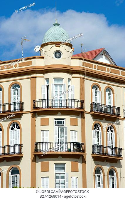 Modernist style building at the corner of Plaza de España and Ejercito Español strret  Melilla Spain