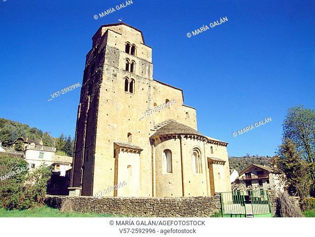 Facade of Santa Maria church. Santa Cruz de la Seros, Huesca province, Aragon, Spain