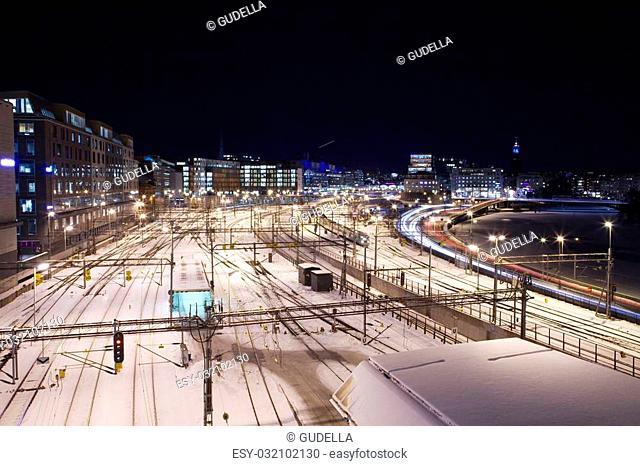 Urban railway station at night. (Stockholm, Sweden)