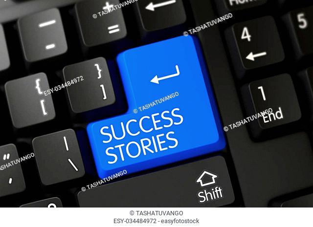 Success Stories Keypad on Computer Keyboard. Black Keyboard Keypad Labeled Success Stories. Black Keyboard with the words Success Stories on Blue Keypad