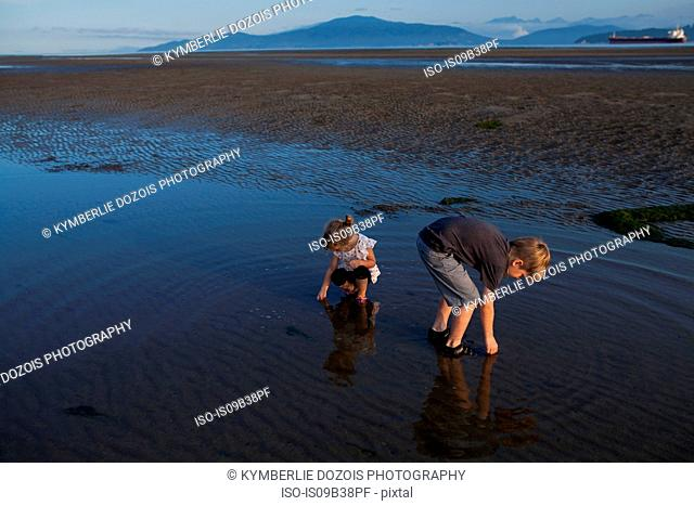 Children picking up seashells on beach, Vancouver, British Columbia, Canada