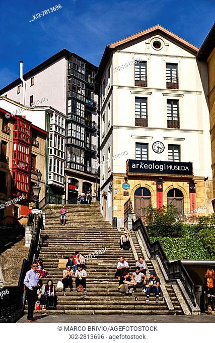 Miguel de Unamuno Square, Casco Viejo. Bilbao, Basque Country, Spain