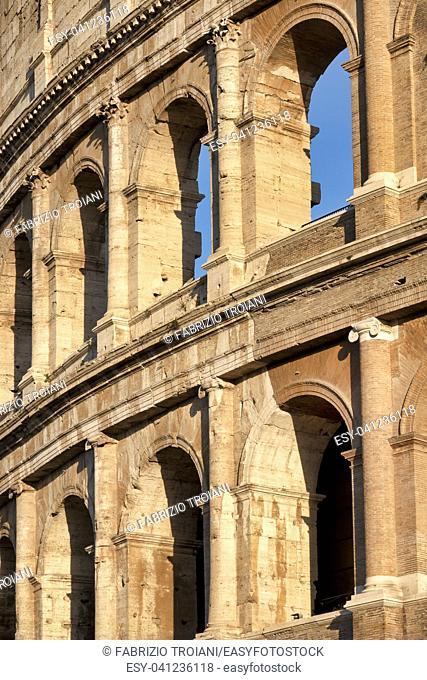 Detail of the newly restored Colosseum. Rome, Italy
