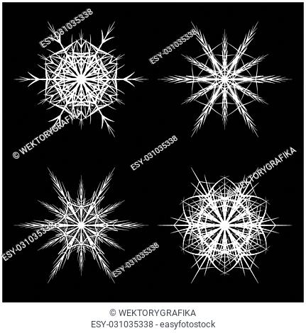 Snowflake silhouette icon, symbol, design. Winter, christmas vector illustration isolated on the black background