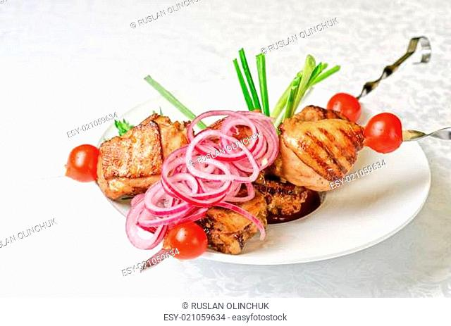 Grilled kebab meat