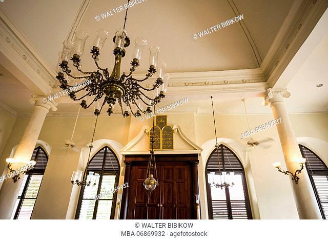 U.S. Virgin Islands, St. Thomas, Charlotte Amalie, Charlotte Amalie Synagogue, second oldest Jewish temple in the Western Hemisphere, interior