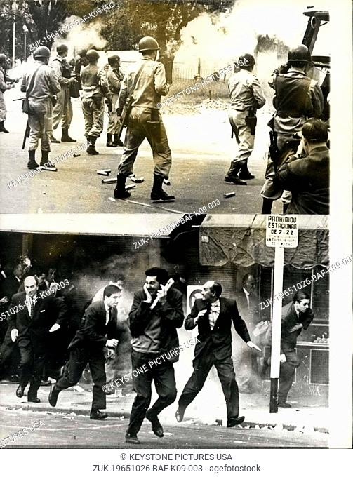 Oct. 26, 1965 - Demonstrations In Burnos Aires - The Argentine Goverment's decision to control the politicial activities of the workers organisation 'CGT'...