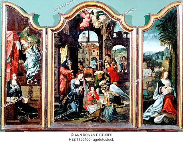 'Adoration of the Shepherds', triptych, late 15th-early 16th century. The left panel shows the Annunciation, the centre the Adoration in the stable with Mary