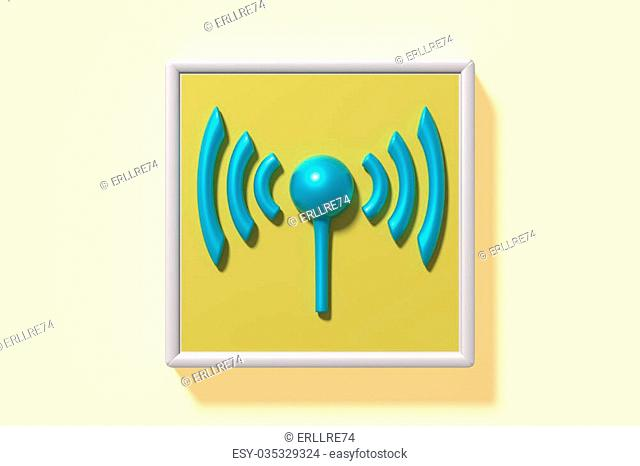 3d rendering wifi symbol on yellow frame