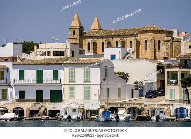 Iglesia de la Mare de Deu del Carme en el barrio de Es Riueto, Porto Colom, Felanitx,Mallorca.Islas Baleares. España