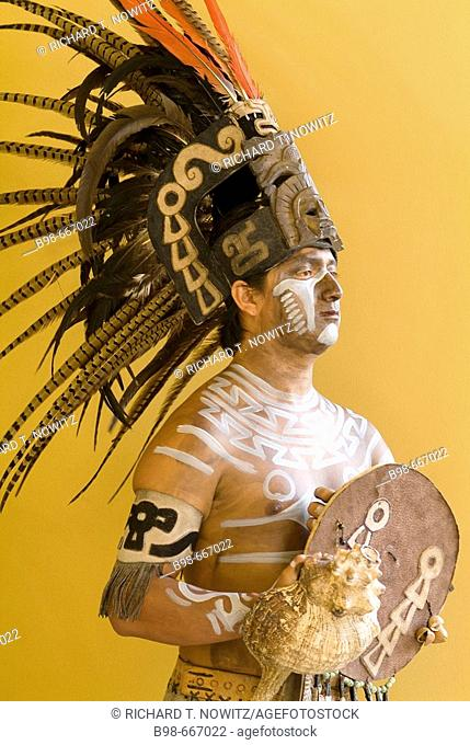 Portraits of man dressed as Mayan Warrior