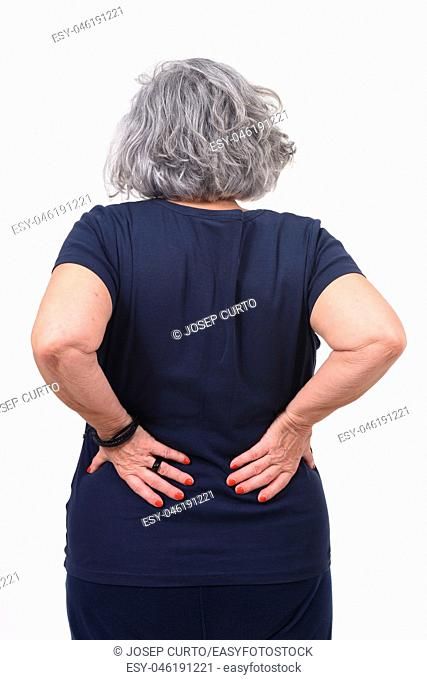 woman with pain back on white