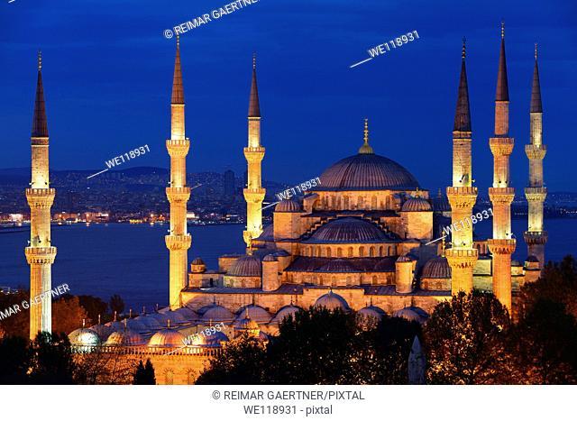Lit Blue Mosque at dusk on the Bosphorus Sultanahmet Istanbul Turkey