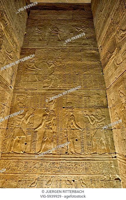 EGYPT, EDFU, 09.11.2016, stone carving inside Temple of Edfu, Egypt, Africa - Edfu, Egypt, 09/11/2016