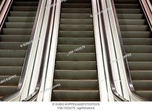 Sofia, Bulgaria. Seldom used escalators in the subway station Khan Kubrat
