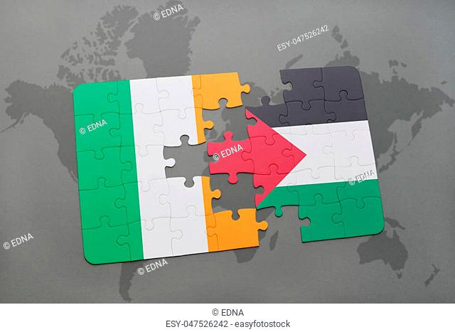 puzzle with the national flag of ireland and palestine on a world map background. 3D illustration