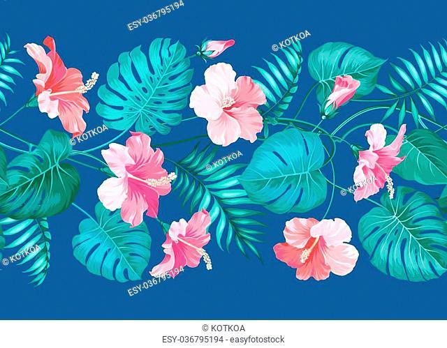 Floral linear tile design. Design for print. Elegant card patern. Vector illustration