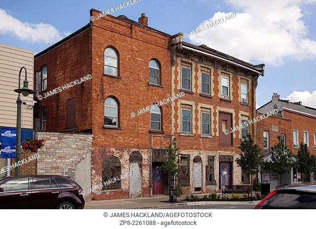 Two derelict turn of the century buildings in downtown Caledonia, Ontario, Canada