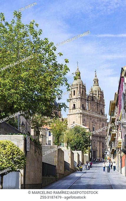 The twin towers of the Church of Clerecia seen from Palominos street. Salamanca, Castilla y Leon, Spain, Europe