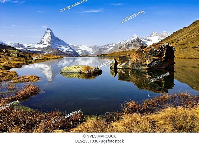 Stellisee Lake and Matterhorn; Valais, Switzerland