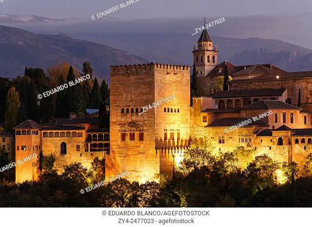 View of Alhambra and Sierra Nevada mountains. Granada city. Andalucia. Spain