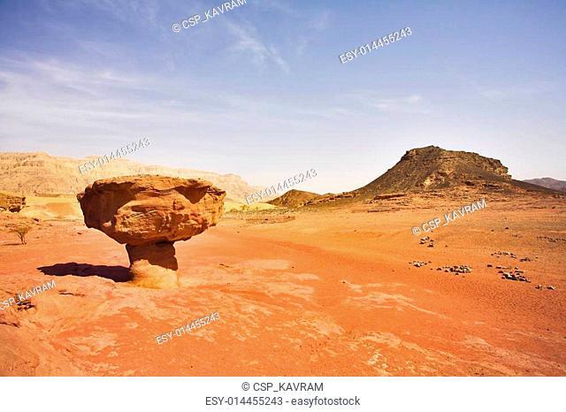 Huge rock in the heated desert