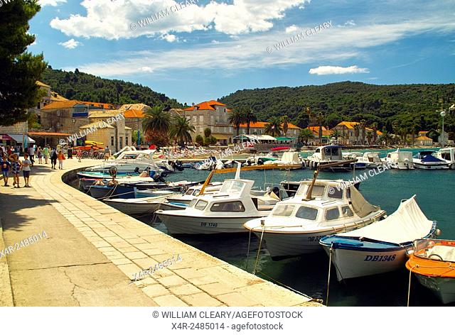 Promenade on Lopud island, Elaphite Islands, Dalmatian Coast, Croatia