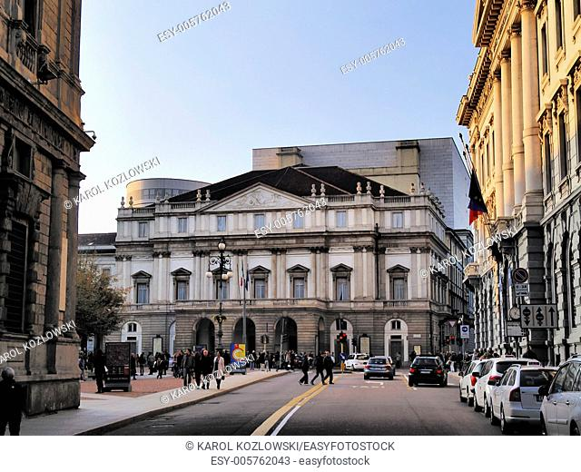 La Scala Opera House - one of the most famous opera buildingd, Milan, Lombardy, Italy