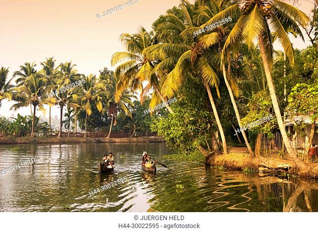 India Kerala backwaters indian people in canoe