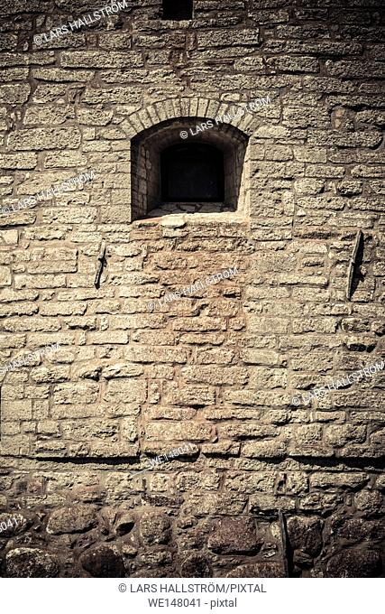 Castle wall and window. Architectural detail. Vadstena castle a historical landmark in Ostergotland, Sweden