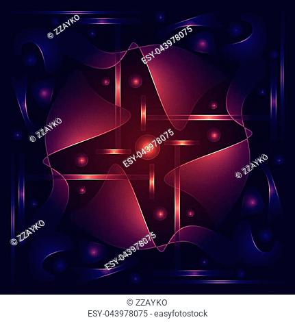 Abstract geometric background with graphic visualization of data, physics, space Futuristic structure of information , neuron, brain links