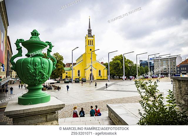 Freedom Square and St. John's church, Tallinn, Harju County, Estonia, Baltic states, Europe