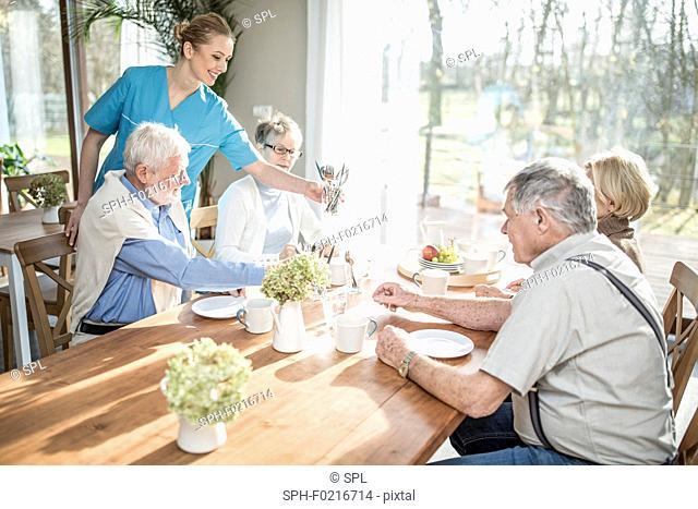 Carer serving seniors at dinner table