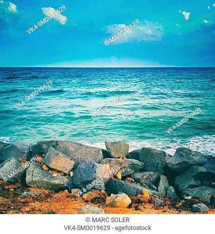 Seascape, rocks and sea