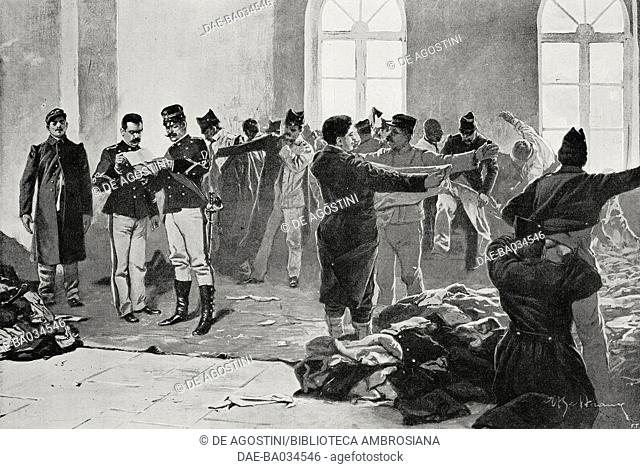 Delivery of uniforms to the railway regiment called up to action, Milan, Italy, drawing by Achille Beltrame (1871-1945), from L'Illustrazione Italiana, Year XXV