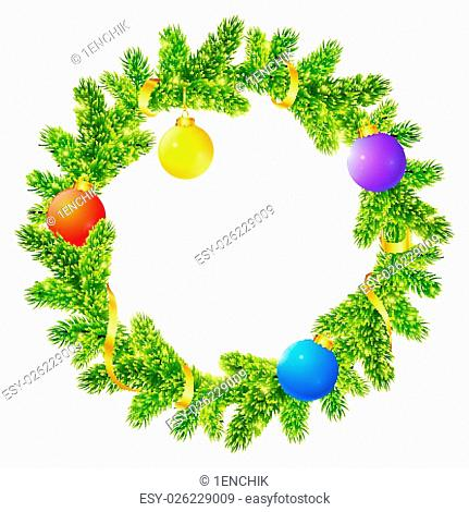 Fir tree branches vector Christmas wreath with colored balls and golden ribbon
