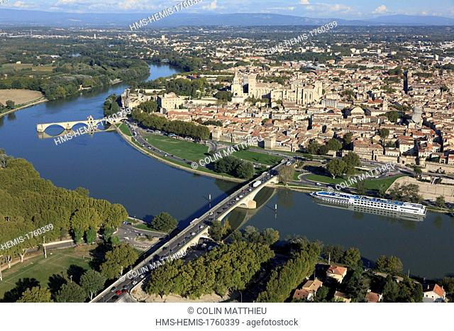 France, Vaucluse, Avignon, Daladier bridge over the Rhone, the historic center and the Palaais des Papes listed as World Heritage by UNESCO (aerial view)