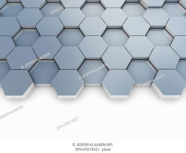 Grey hexagons, illustration