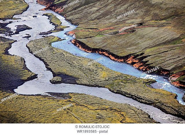 Aerial view of meandering river, Landmannalaugar, Iceland
