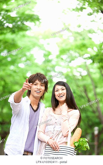 Young couple looking