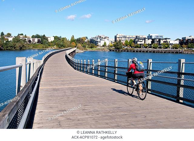 The Galloping Goose trail connects downtown Victoria to Sooke and other trails out to Sidney for use by cyclists and pedestrians