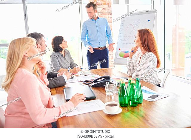 Businessman leading business meeting