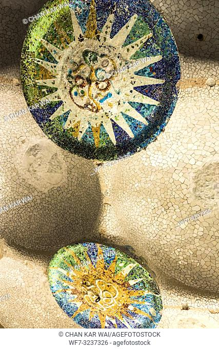 Barcelona - December 2018: Tiled Mosaics on the ceiling at Park Guell