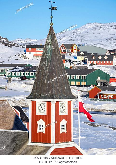 Church of our saviour, the cathedral of Nuuk. The old town of Nuuk, the capital of Greenland. America, North America, Greenland